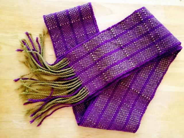woven scarf with twisted fringe
