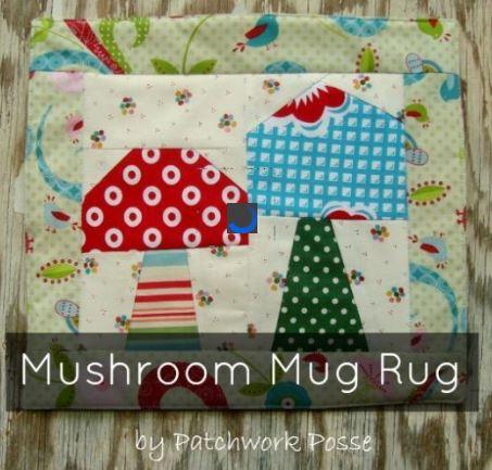 Whimsical Mushroom Mug Rug