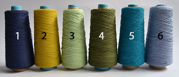 Six cones of yarn in a broader colour selection