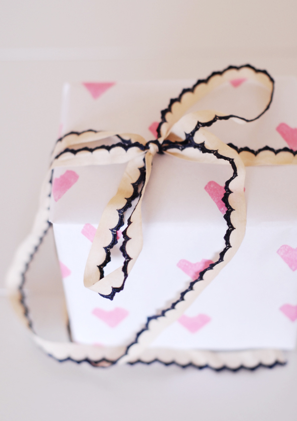 Handmade Gift Wrapping with Pink Heart Stamps