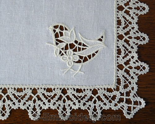 S-embroidery birdie cutwork lace