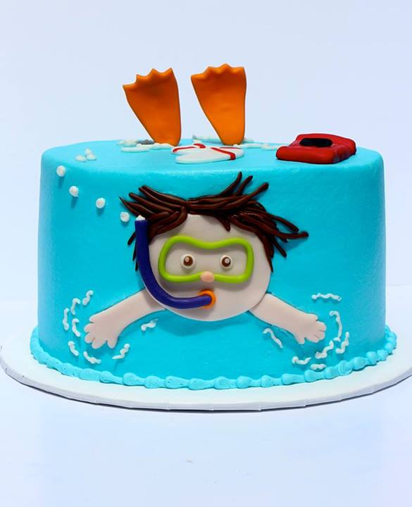 Little Swimmer Pool Party Cake
