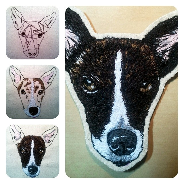Step by step embroidery of a dog