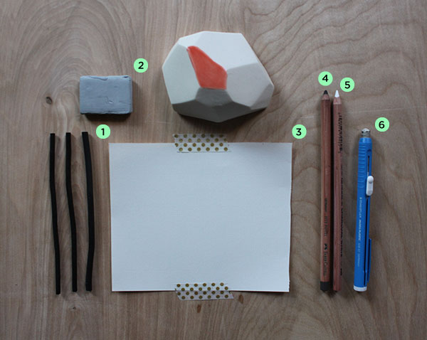 Supplies for drawing with a geometric shape