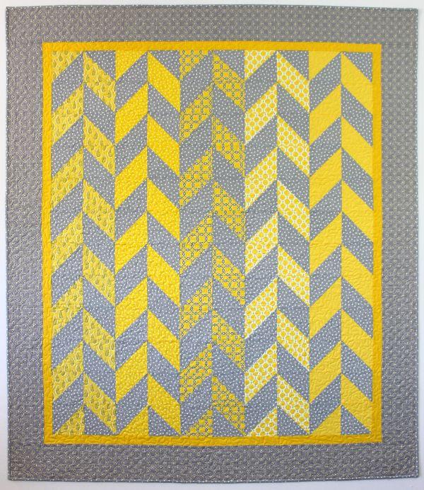 Pretty gray and yellow Herringbone Quilt