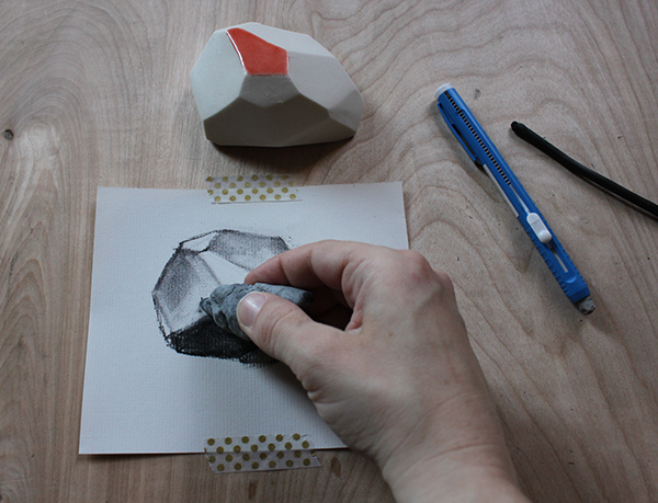 Erasing and shading a charcoal drawing