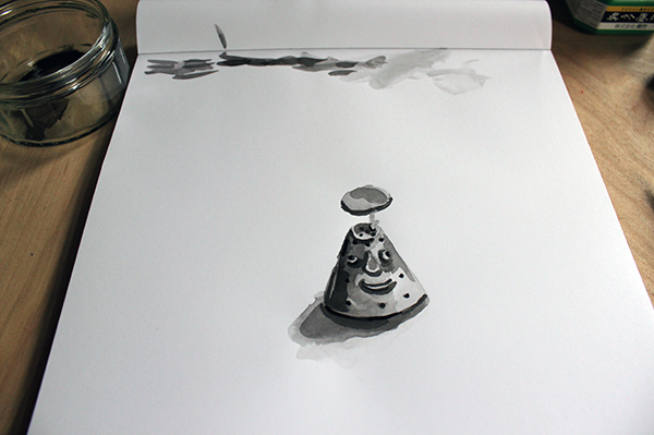 Completed ink wash drawing
