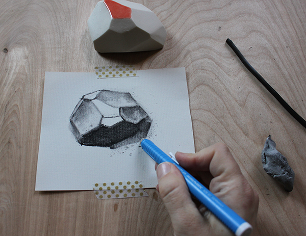 Erasing a charcoal drawing