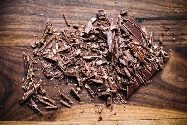 Shaved dark chocolate with sea salt + almonds