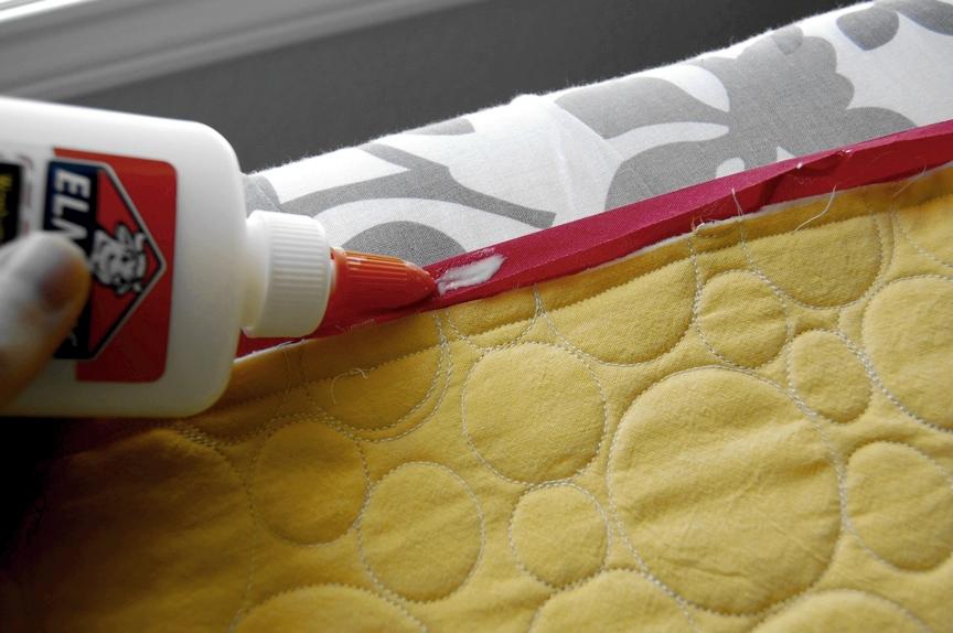 Applying Glue to Quilt Binding