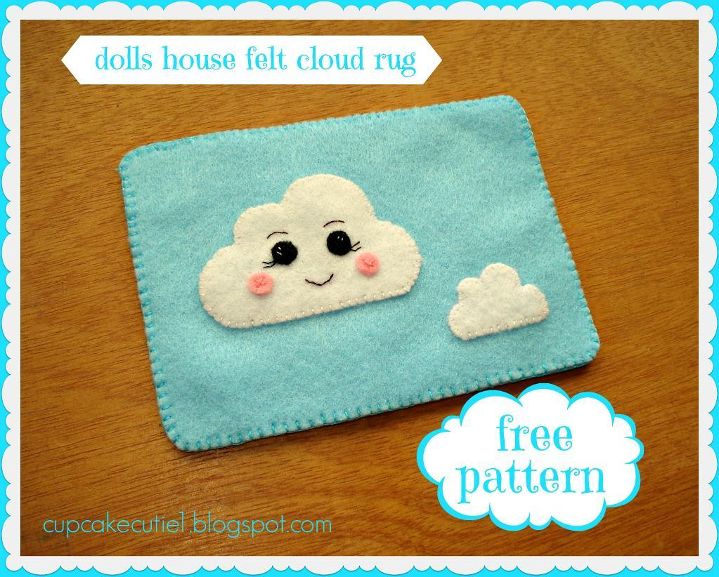Doll house felt cloud rug