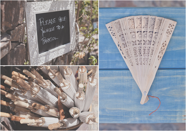 Fans and Parasols for a Wedding Ceremony