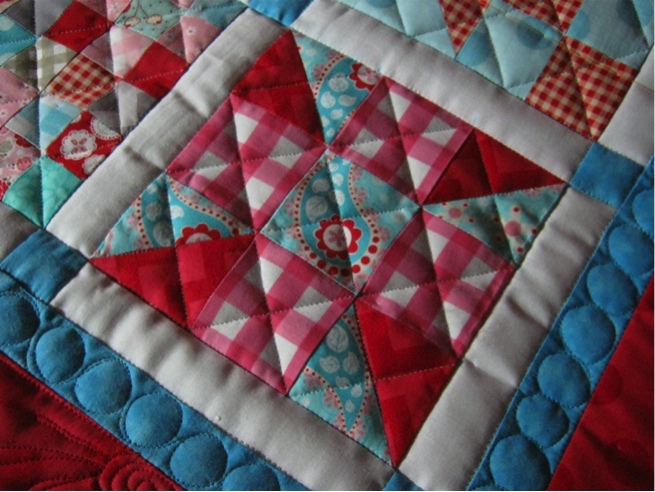 Simply Crosshatching to enhance a busy quilt