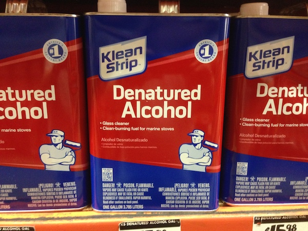 Denatured Alcohol. This brand contains methanol as the denaturing agent, which is very toxic.