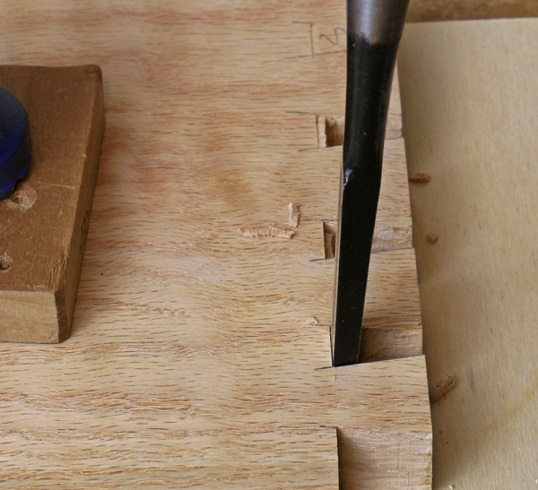 Angled Chisel Cutting Dovetail Joints