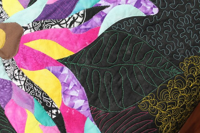 leaf free-motion quilted onto background