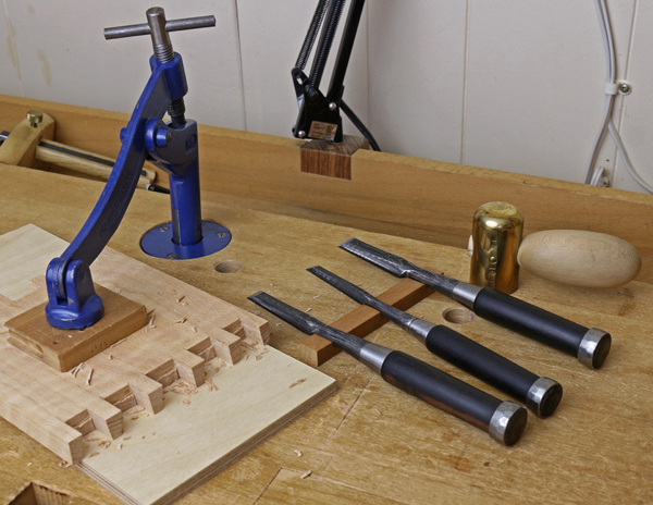 Variety of chisels for woodworking