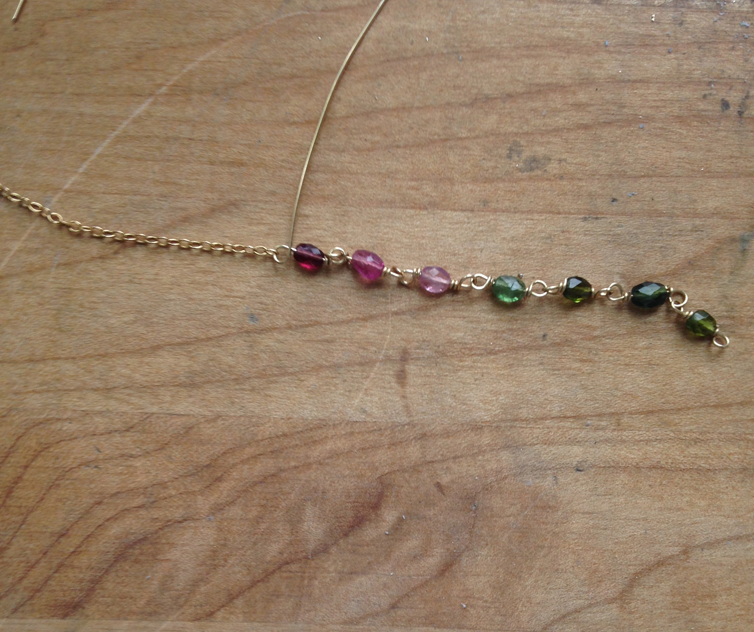 Attaching the beaded portion to wire