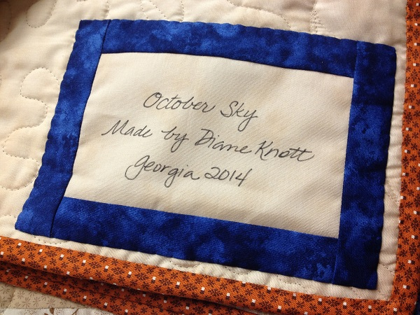 Handmade quilt label