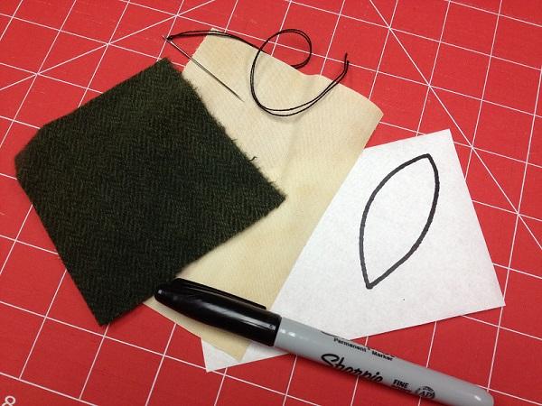 Leaf shape drawn on fusible