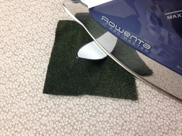 Ironing fusible shape onto wool