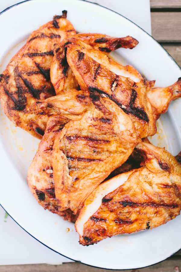 Smoked grilled chicken on a gas grill