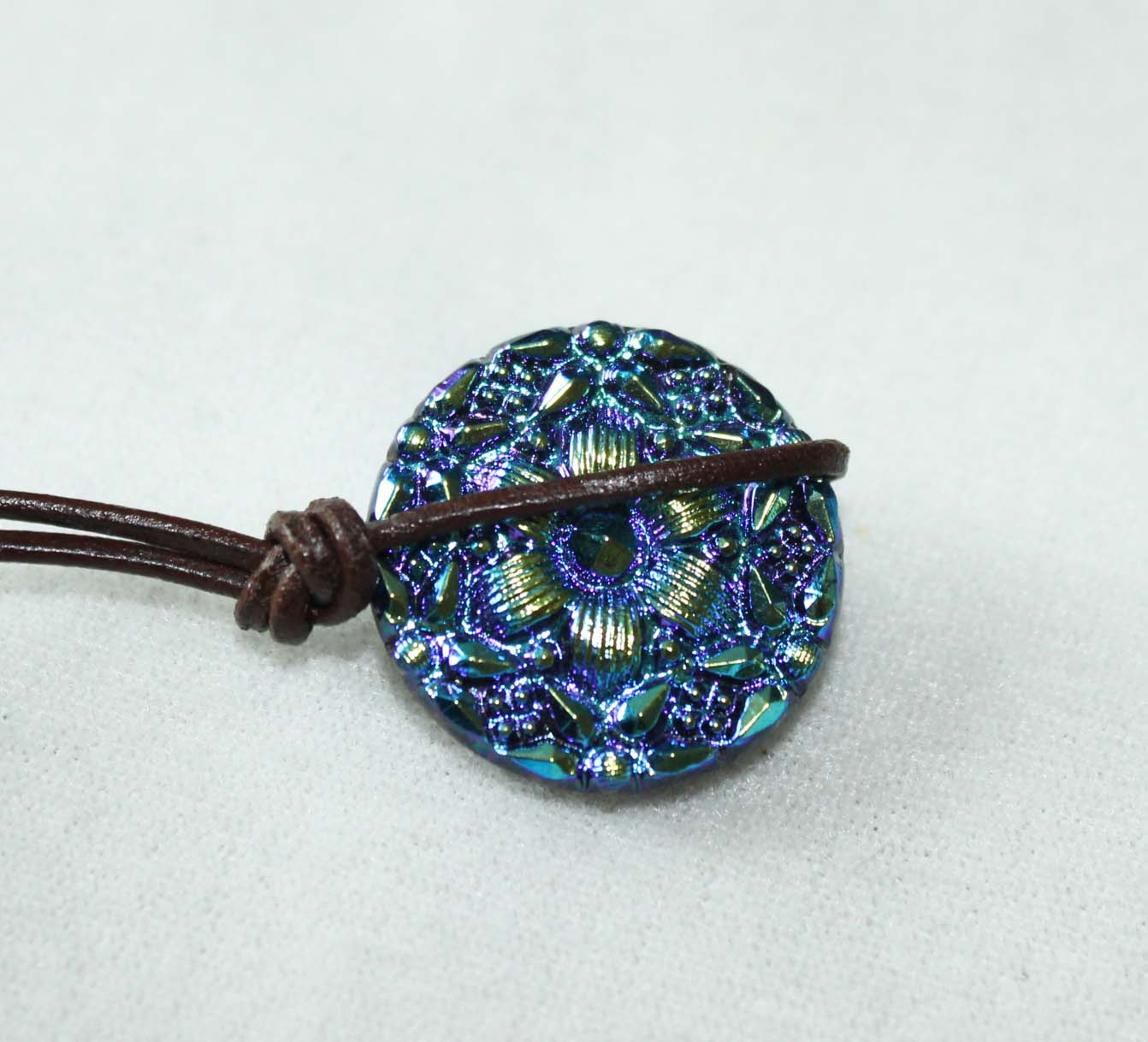 Knotted Leather button loop and Czech glass button