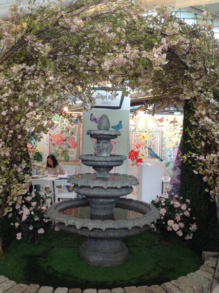 Fountain and flowers from the Michael Miller Fabrics booth