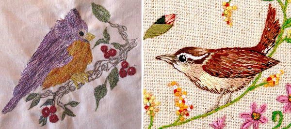 Bird hand embroidery