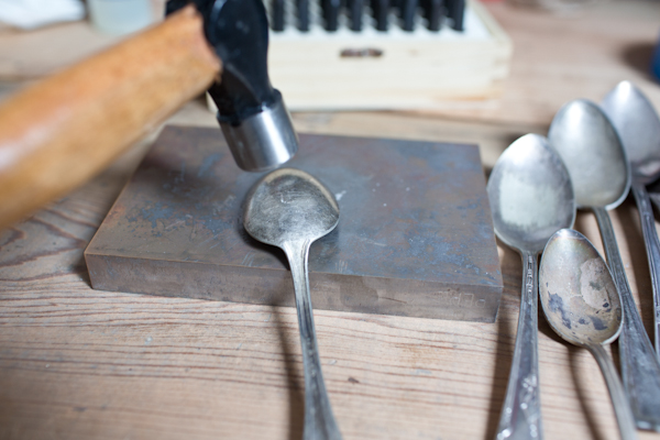 Hammering a Silver Spoon to Make a Garden Marker