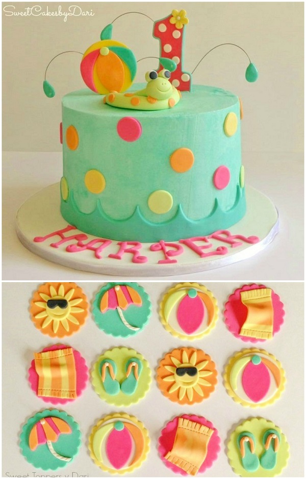 Pool Party Cake and Cupcakes