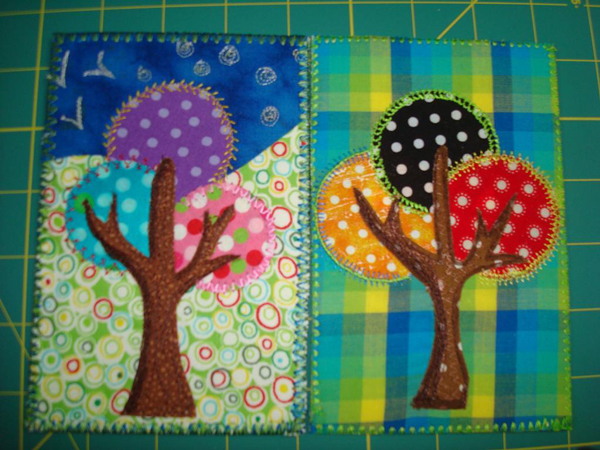 Quilted Fabric Postcard