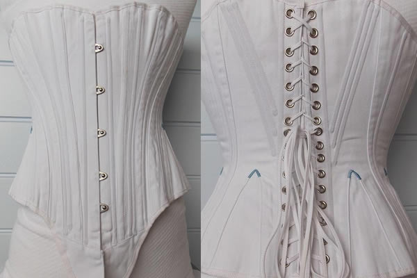 Handmade White Coutil Corset