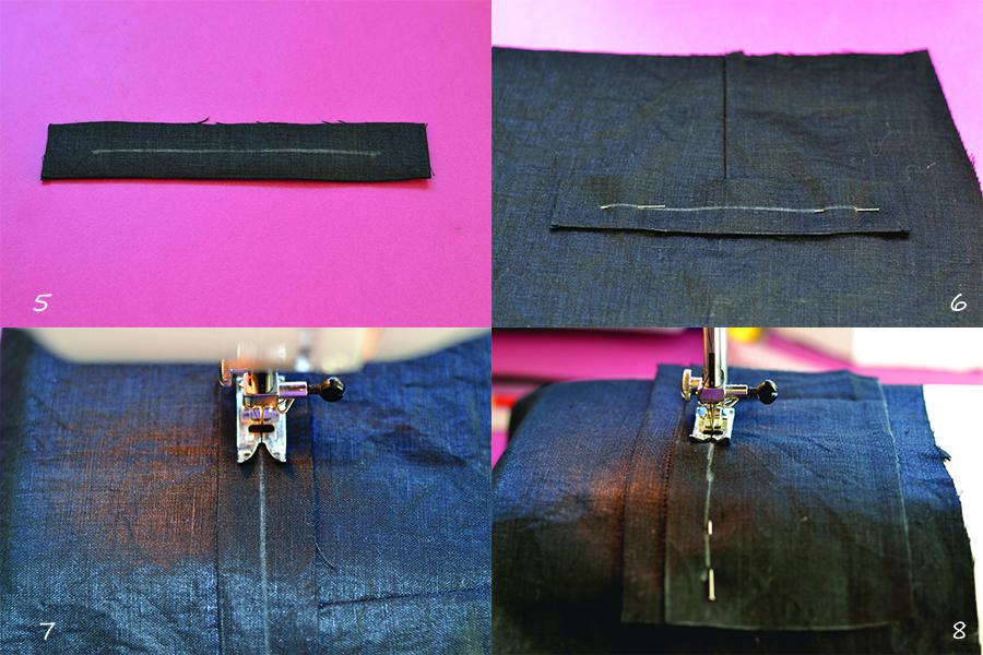 Stitch the welt pocket