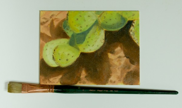 Cactus; oil 6x8; no. 10 flat; Large brush painting
