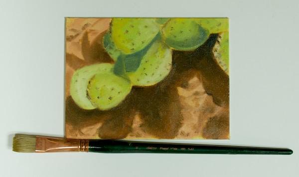 Cactus; oil 6x8; no. 10 flat; Large brush painting