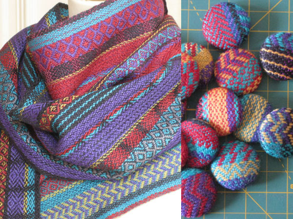 Handwoven scarves and buttons covered with sample scraps