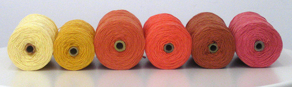 Pink orange and gold yarns