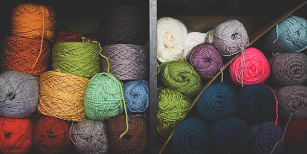 Skeins of Colorful Yarns