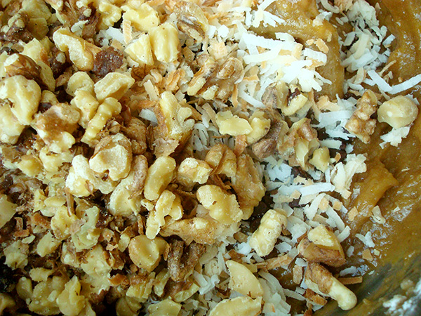 Delicious mixture of toasted walnuts and coconut