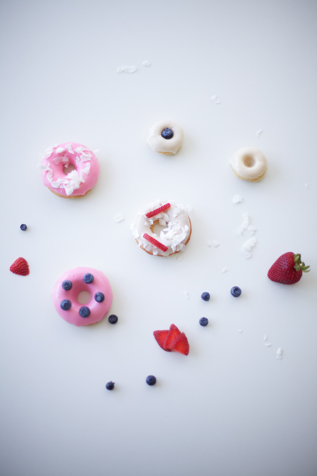 Fresh Doughnuts Decorated with Fruit and Coconut