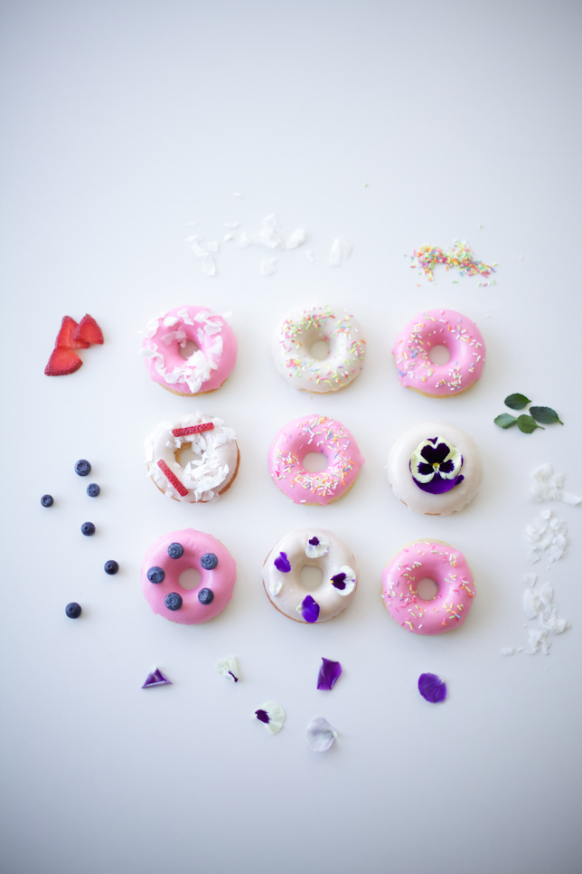 Variety of Decorated Doughnuts
