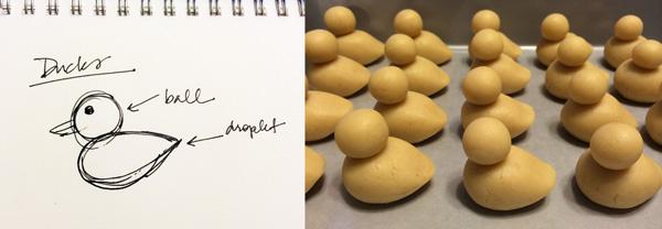 Cake pop ducks design and shaped dough
