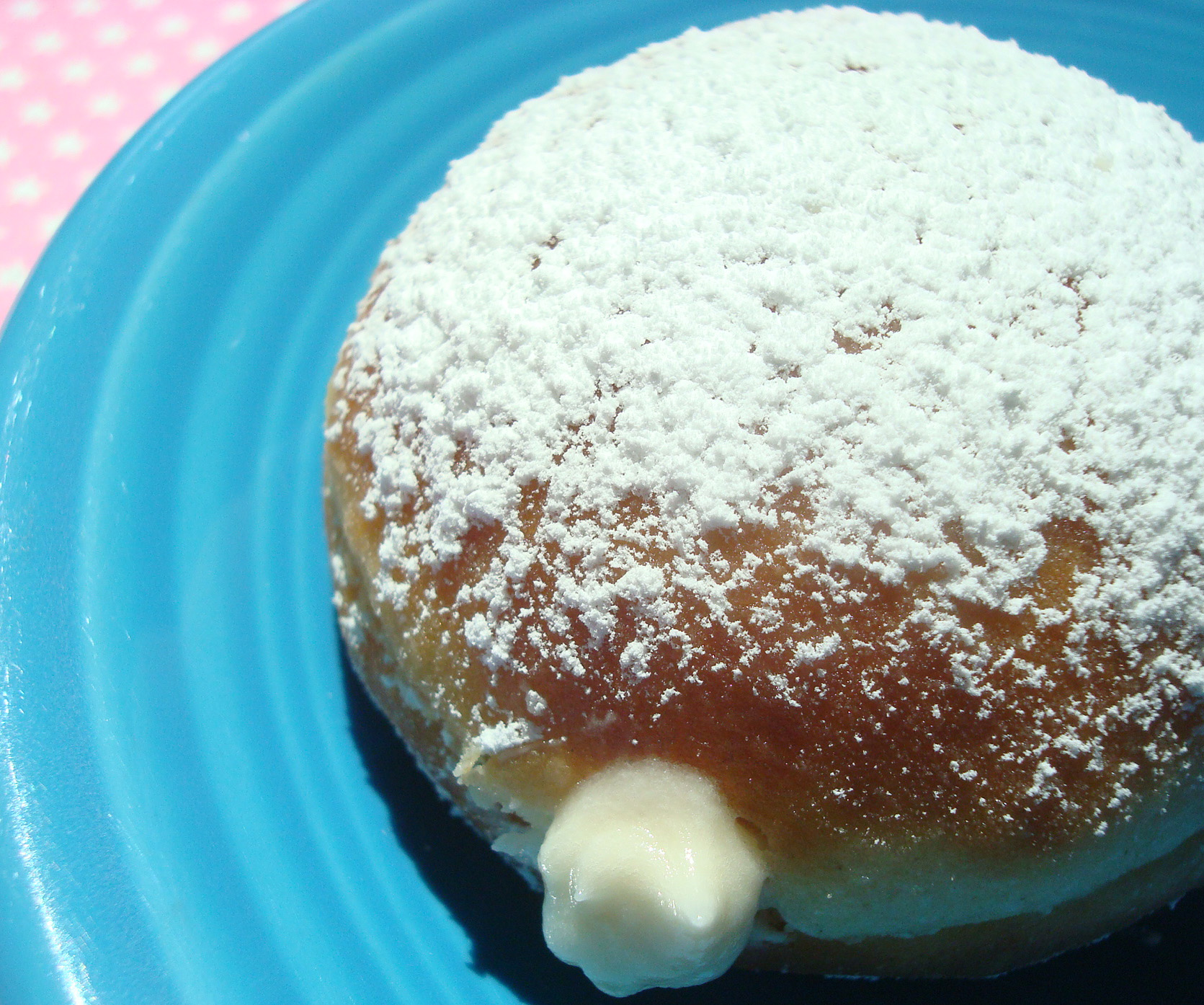Powdered Doughnut With Cream Filled Center