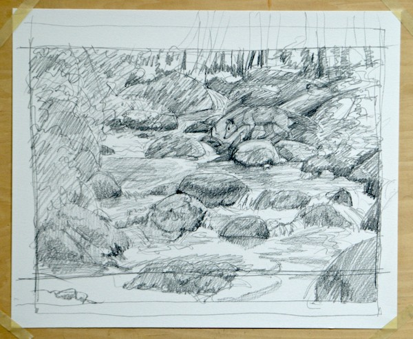 Sketch of a stream with a hidden fox