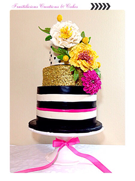 Stunning black, white & gold glittered cake