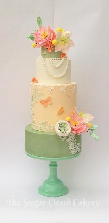 floral cake with delicate pearls