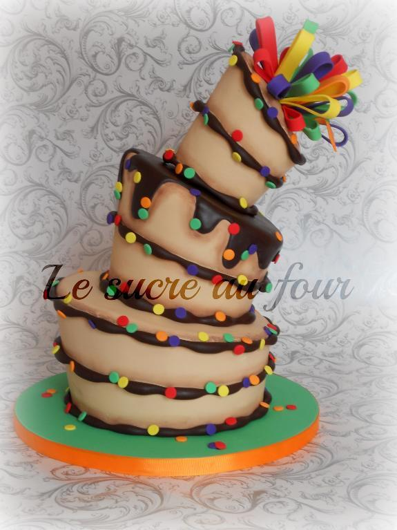 Rainbow Polka-dotted Topsy-Turvy Birthday Cake