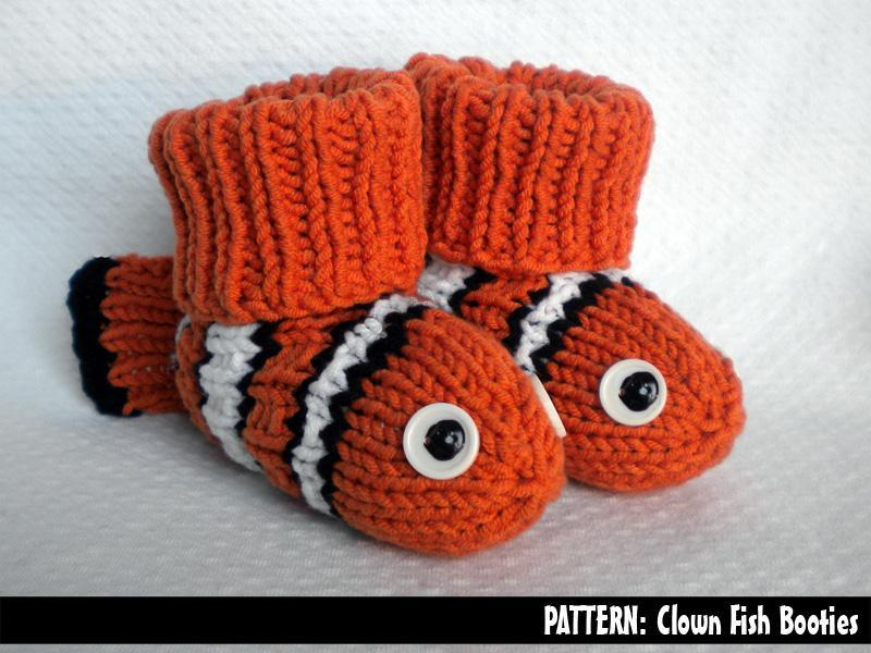 Knitted clown fish baby booties