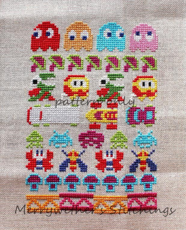 arcade game themed cross stitch sampler